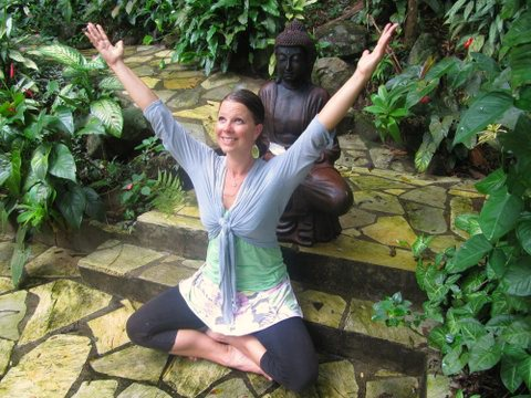 Steph Enchanted Mountain seat gratitude pose color