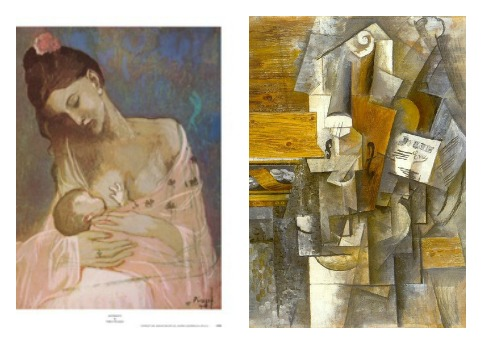 "Picasso's Rose Period which occurred while he was with lover Fernande Olivier (left). Cubist period ""J'aime Eva"" (right)."