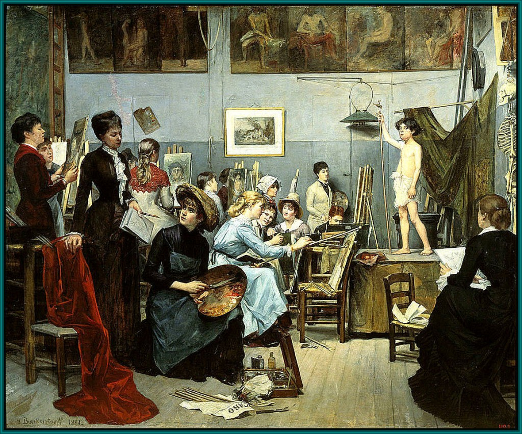 In the Studio by Marie Bashkirtsheff. Set over a decade earlier than my mystery, this painting shows a class for women at the famous Academie Julien, where my heroine Theo later studied. Many foreign students, women, and French students improved their skills studied here. Women were charged double.